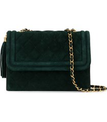 chanel pre-owned 1990's quilted fringe chain shoulder bag - green