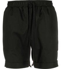 alchemy drawstring cuffed-hem shorts - black
