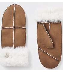 river island womens brown suedette faux fur cuffed mittens