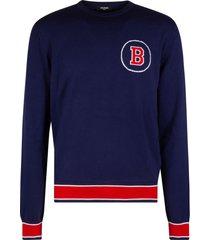 balmain round b logo detail sweatshirt