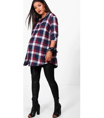 maternity flannel shirt, blue