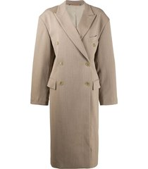 acne studios double-breasted oversized coat - neutrals