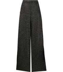 just cavalli rhinestone palazzo trousers - black