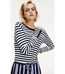 tommy hilfiger women's icon ribbed stripe sweater white/navy stripe - m