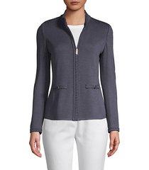 zip-front wool blend jacket