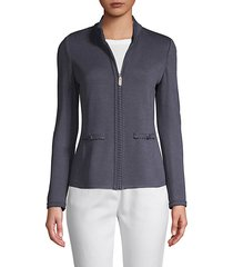 zip-front wool blend jacket