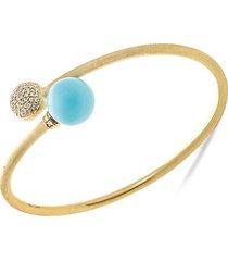 africa 18k yellow gold, turquoise & diamond bangle bracelet
