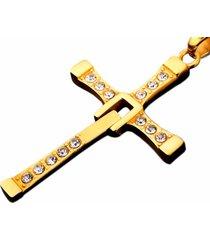 pingente vanglore crucifixo ouro 18k dourado - kanui