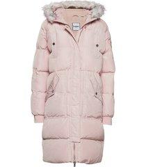luxe longline puffer gevoerde lange jas roze superdry