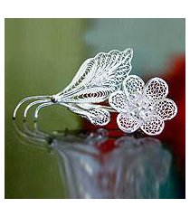 sterling silver brooch pin, 'silver allamanda' (indonesia)