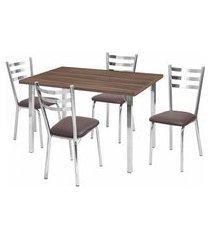 conjunto de mesa de jantar com 4 cadeiras ana maria corino marrom e cromado