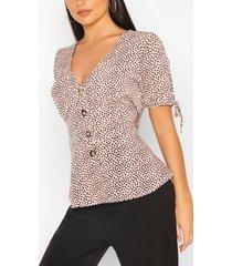 blouse met dalmatiërsvlekjes en knoopsluiting, roze