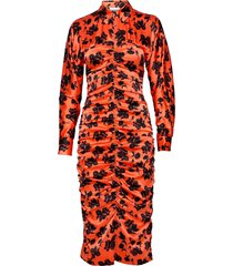 silk stretch satin jurk knielengte oranje ganni