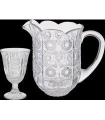 conjunto de 1 jarra 1,4l e 6 taças 226ml de vidro - linha starry
