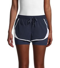 spyder women's layered active shorts - outer space - size m