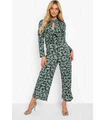 bloemen culotte jumpsuit met ceintuur, green