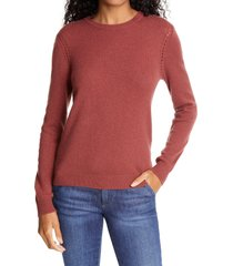 women's frame pointelle detail wool & cashmere sweater, size x-small - brown