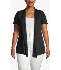 lane bryant women's effortless chic short-sleeve cardigan 14/16 black
