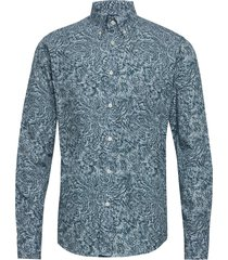 3d paisley poplin shirt skjorta casual blå eton
