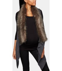 luxe essentials faux-fur trim maternity vest