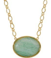 2028 gold-tone aventurine semi precious oval stone necklace