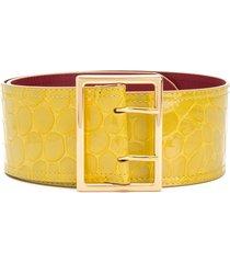 marni wide crocodile print belt - yellow