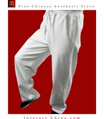 fine linen white kung fu martial arts taichi pant trousers tailor custom made