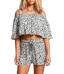 volcom some thyme floral print shorts, size x-large in black combo at nordstrom