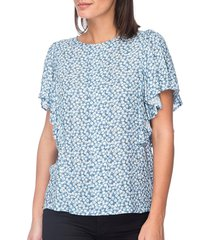 b collection by bobeau women's acacia flutter sleeve top - chambray - size xs