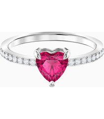 anello one heart, rosso, placcatura rodio