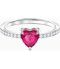 anello one heart, rosso, placcatura rodio