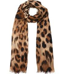 'tarth' leopard print wool blend scarf