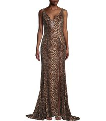 mac duggal women's leopard-print sequin gown - leopard - size 10