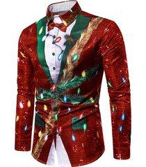 christmas faux sequins button up tuxedo shirt