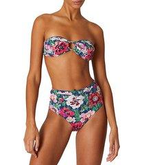 luna floral-print bikini top