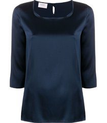 snobby sheep 3/4 sleeves round-neck blouse - blue