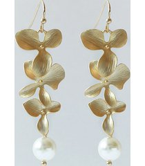 kolczyki złote listki z perłą