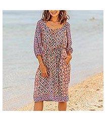 rayon tunic-style dress, 'kelud crisscross' (indonesia)