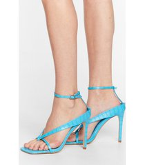womens thong time coming strappy stiletto heels - blue
