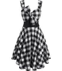 checkered bowknot empire waist dress