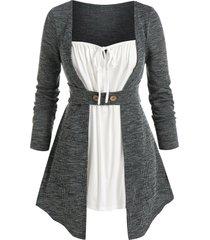 plus size marled knit ruched tie round hem top