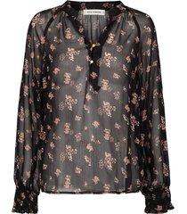 semi-transparante blouse met print alvida  zwart