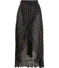 agent provocateur sheer polka dot wrap skirt - black
