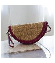 palm and leather wristlet handbag, 'mixteco fire' (mexico)