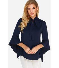 azul marino para atar diseño liso 3/4 longitud mangas acampanadas camisa