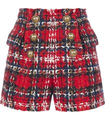 balmain buttoned tartan wool-blend tweed shorts