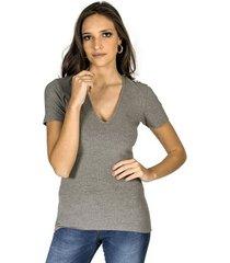 blusa decote v canelada colcci feminino