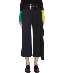 handkerchief drape detail belted colourblock pants
