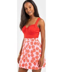 roxi button front floral mini skirt - pink