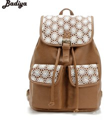 s pu leather lace backpack travel bag casual school backpack hollow out backpack